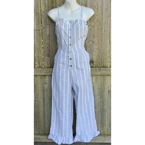 Anthropologie Pink Thread striped jumpsuit M